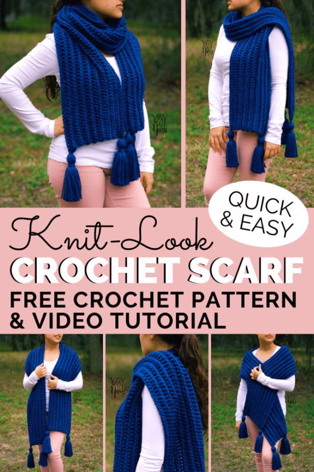 This thick, squishy scarf may look knitted, but it's actually crocheted! It's a beginner-friendly project that is quick and easy to make. Grab your hook and let's get started! #crochetscarf #freecrochetpattern #knitlookcrochet #crochetscarfpattern #chunkycrochet