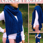girl wearing a blue chunky crochet scarf with tassels
