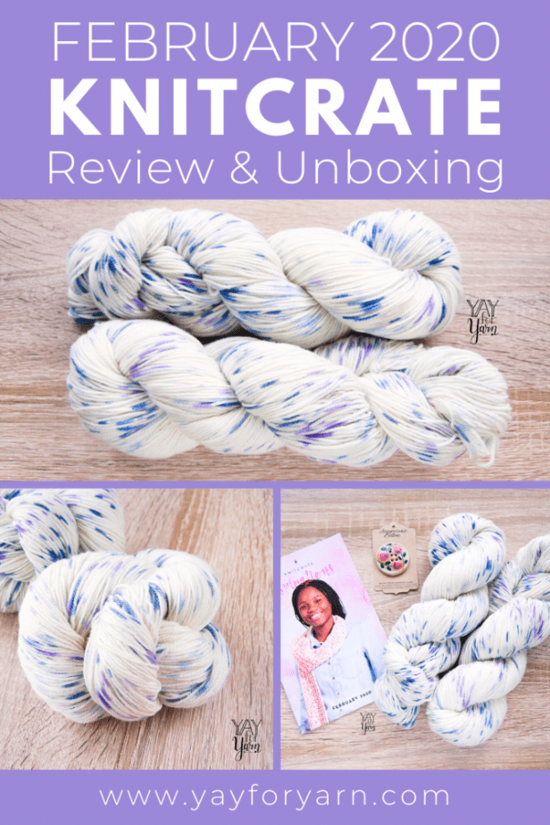 This blue and lavender speckled hand-dyed yarn is so pretty! Plus, don't miss this exclusive coupon code, just for my readers. #yarnreview #knittingyarn #crochetyarn #handdyedyarn