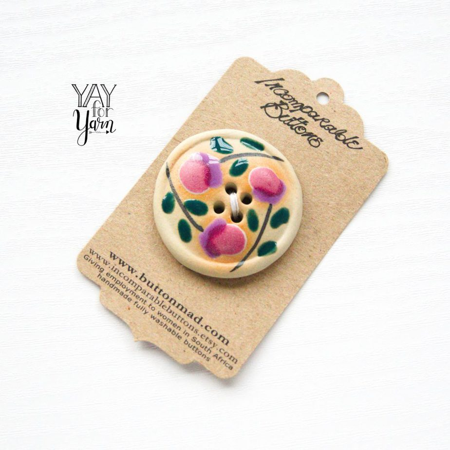 handmade hand painted large button