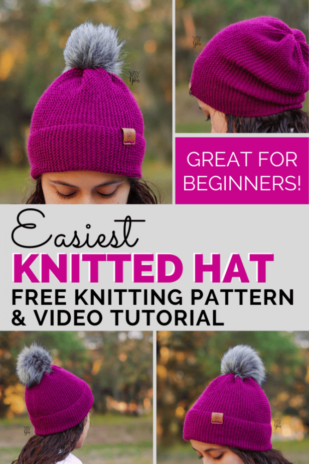 This simple-to-make hat is made from a knitted rectangle! It's the perfect project for a beginner knitter, or anytime you want to make a quick and easy project. You won't have to worry about knitting in the round, shaping, or anything like that. If you can cast on, bind off, and work the knit stitch, you can make this hat! Includes 10 sizes, from Preemie to Adult. Come check out the free pattern and video tutorial! #easyknitting #knittingforbeginners #knittingpatterns #freeknittingpatterns