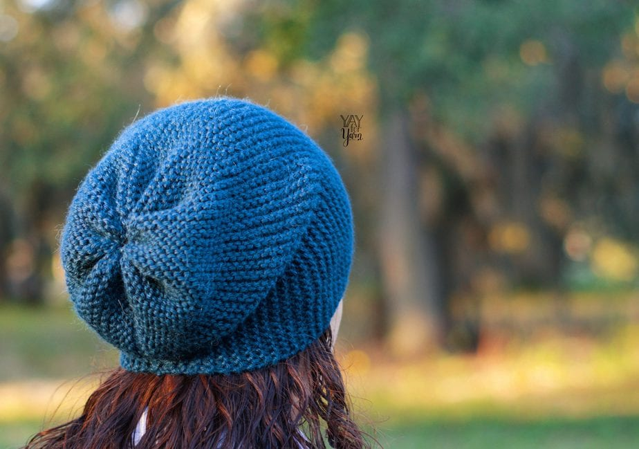 blue slouchy hat made from a rectangle