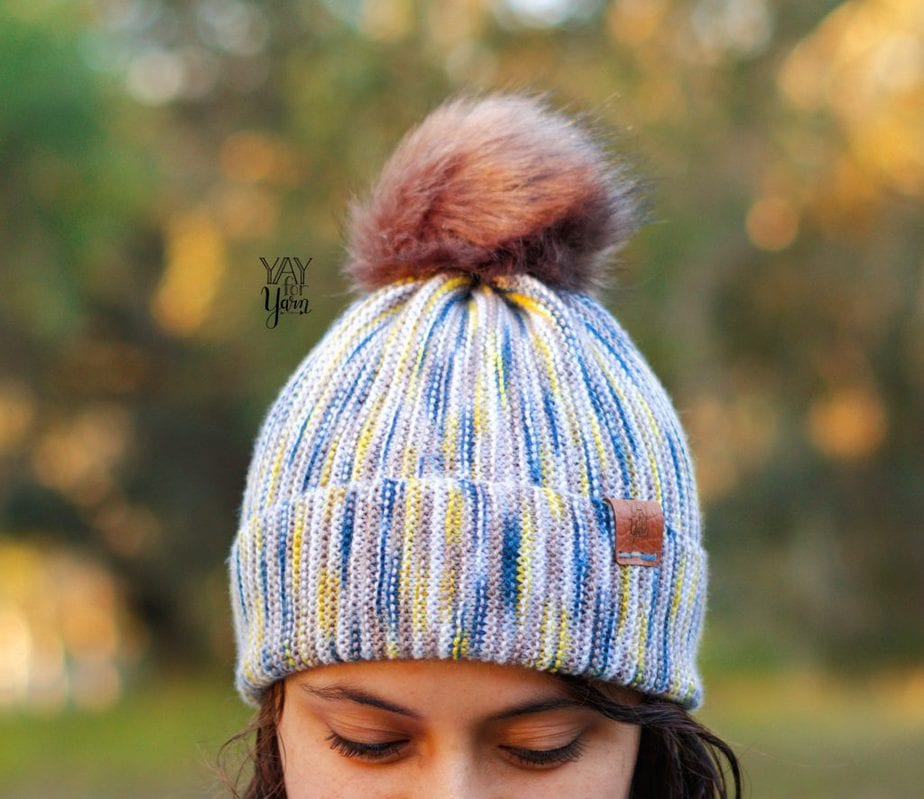 easy knitted hat made from hand dyed sock yarn