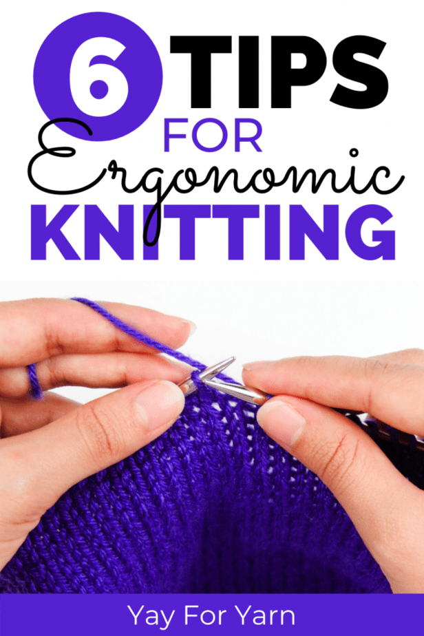 6 tips for ergonomic knitting pin image - hands holding yarn and knitting needles