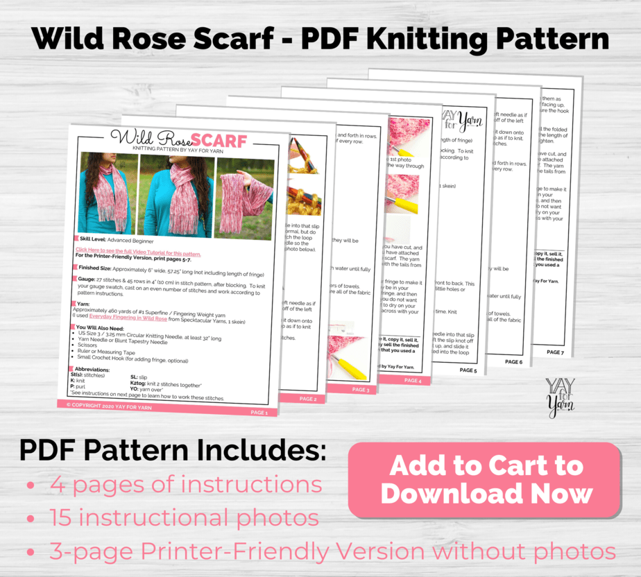 Wild Rose Scarf pdf listing photo