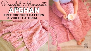 photos of pink crocheted afghan with tassels