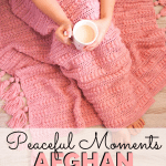 pin image - photo of woman under crocheted blanket holding cup of tea or coffee