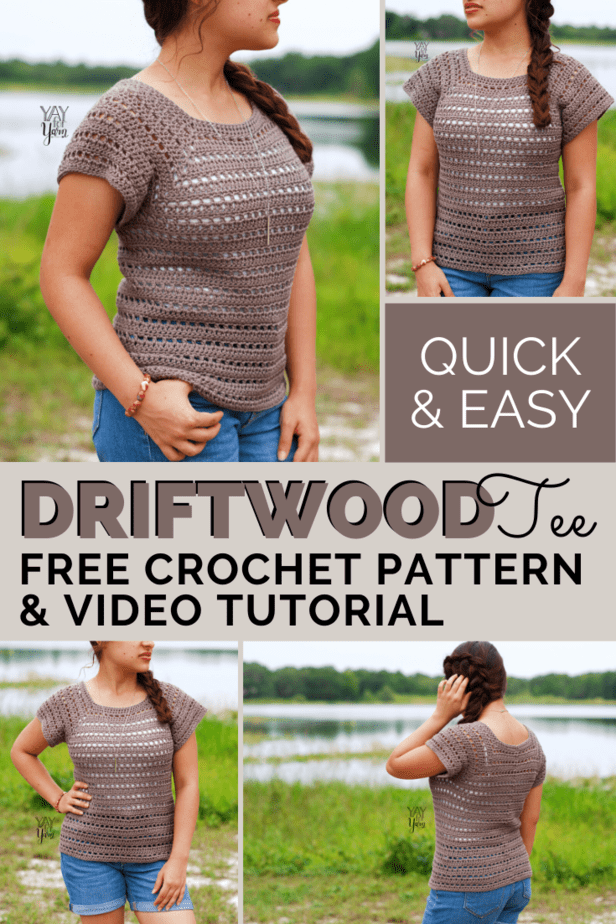 pin image for driftwood tee - collage of photos of woman wearing brown crochet summer top in front of lake