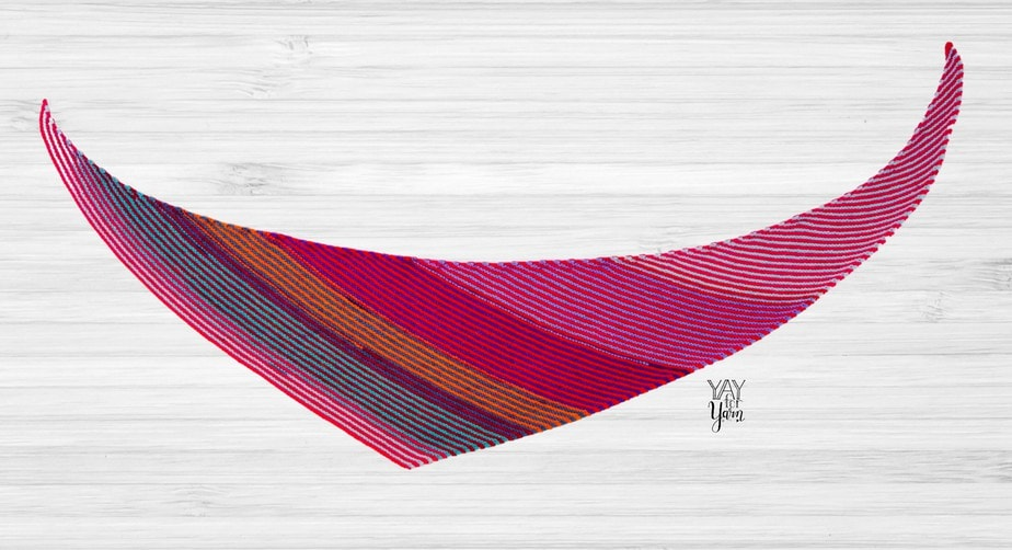 flat view of double gradient boomerang shawl