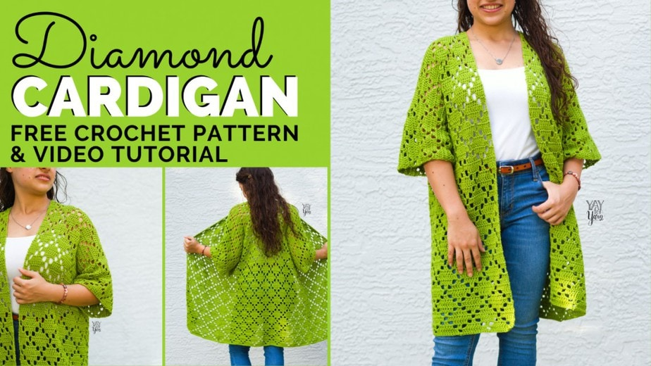collage of lime green diamond cardigan free crochet pattern