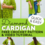 collage pinterest image for diamond summer cardigan crochet pattern