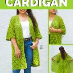 pin image - collage of diamond cardigan crochet pattern