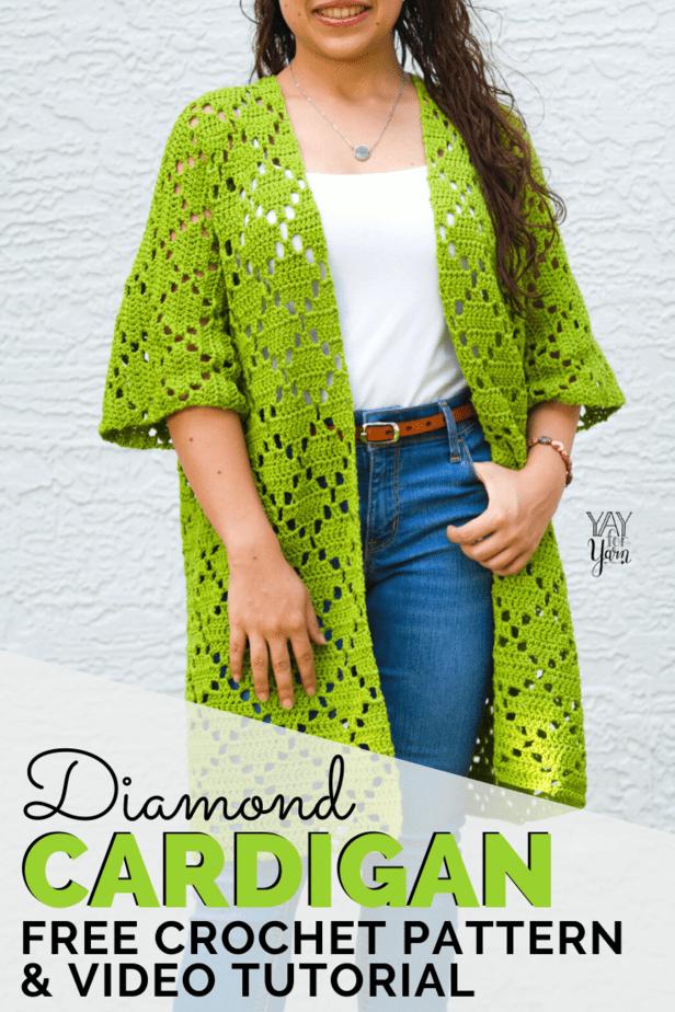 pin image for diamond cardigan crochet pattern