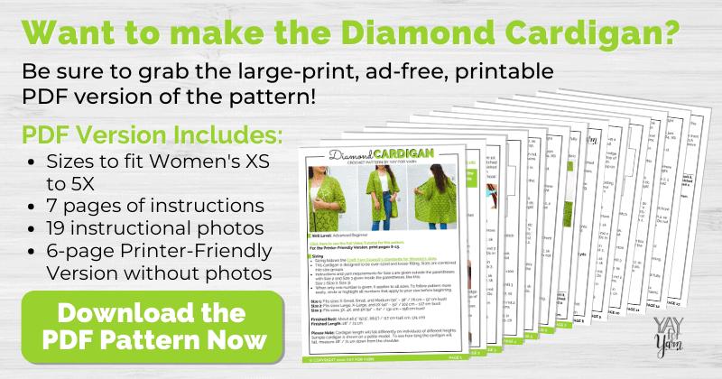 mockup of printable pdf diamond cardigan crochet pattern