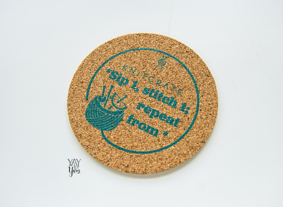 brown knitcrate cork coaster with blue print