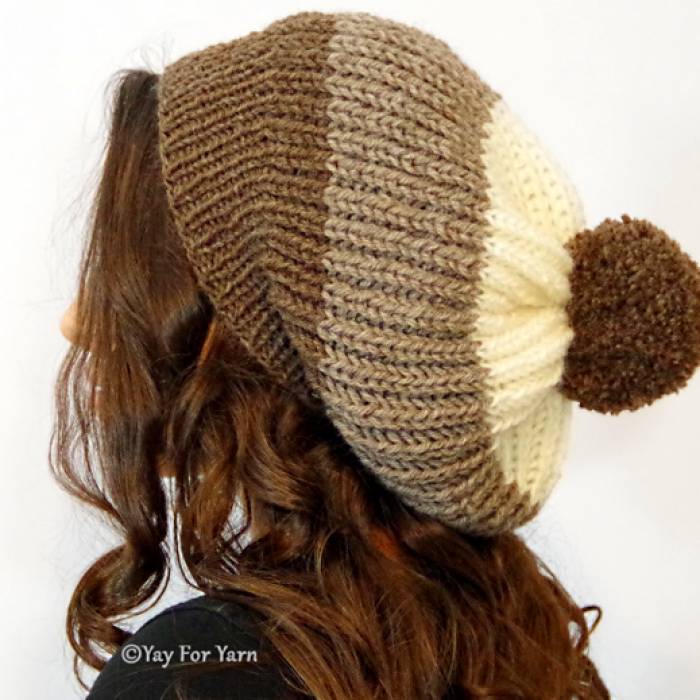 How to Knit a Chunky Brioche Slouchy Hat in SHORTCUT Brioche Stitch | Free Knitting Pattern by Yay For Yarn