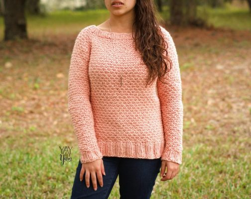 Dotty Pullover - Pink raglan sweater pattern with dot stitch