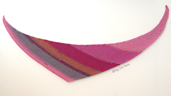 This Double Gradient Boomerang Shawl can be made in any size, with any needles, any yarn, and any gauge you like.