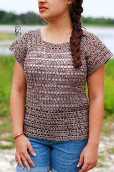 front view of crochet summer tee made from driftwood tee pattern