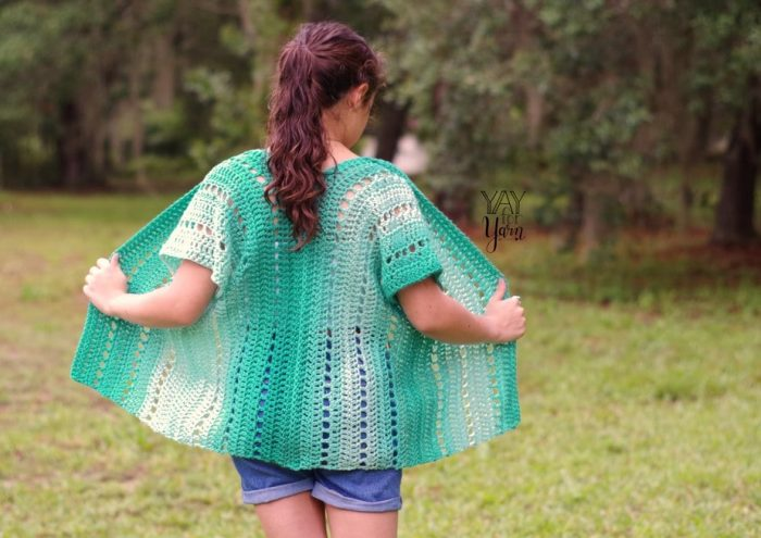 Quick and easy summer kimono cardigan crocheted in ombre yarn
