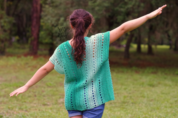 Made from two rectangles, this lightweight cardigan is lightweight and breathable, with the speed of being worked in worsted weight yarn.