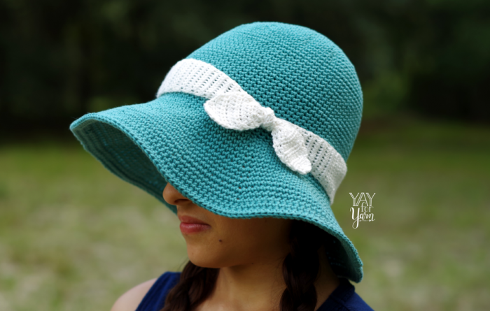 Blue Crocheted Sunhat with Bow - Free pattern for babies, children, and adults