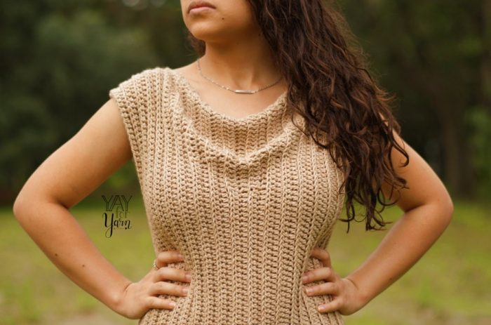 How to crochet a top with a cowl neck