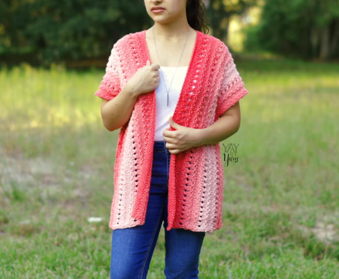 ombre sweater for summer or fall, hip length long cardigan