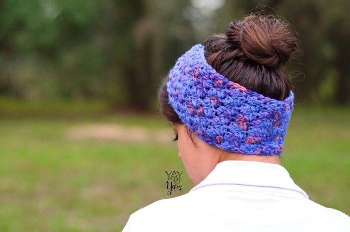 back view of twisted earwarmer headband free crochet pattern