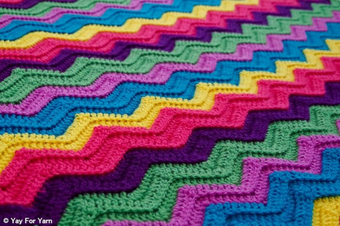Rainbow Ridge Afghan - Free Crochet Ripple Blanket Pattern