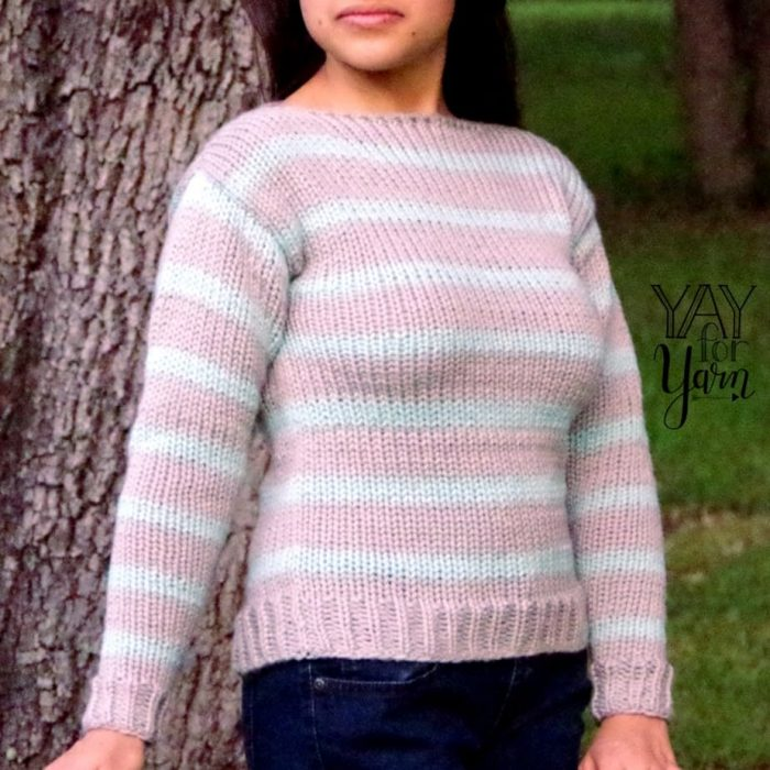 This quick and easy sweater is made from 4 flat panels, knit on the Addi King Knitting Machine.  No hand-knitting required!