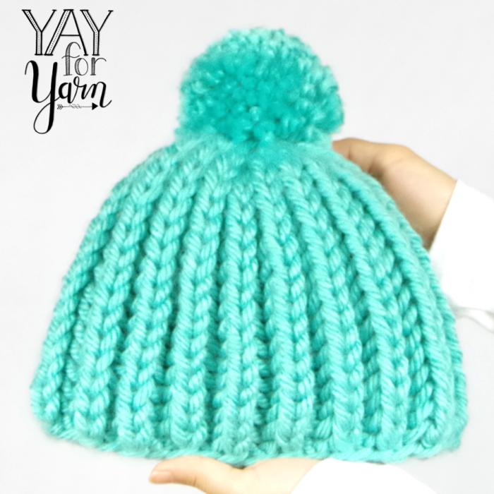 Easy Shortcut Brioche Pom Pom Hat - FREE Knitting Pattern by Yay For Yarn