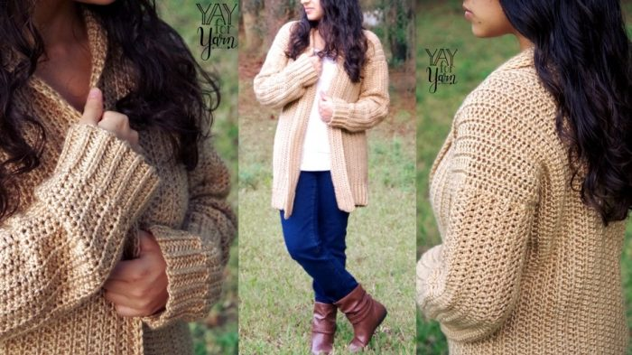 Comfy Cozy Cardigan - Beginner Friendly Crochet Sweater in Women's Sizes Extra Small to 5X - FREE Pattern | Yay For Yarn