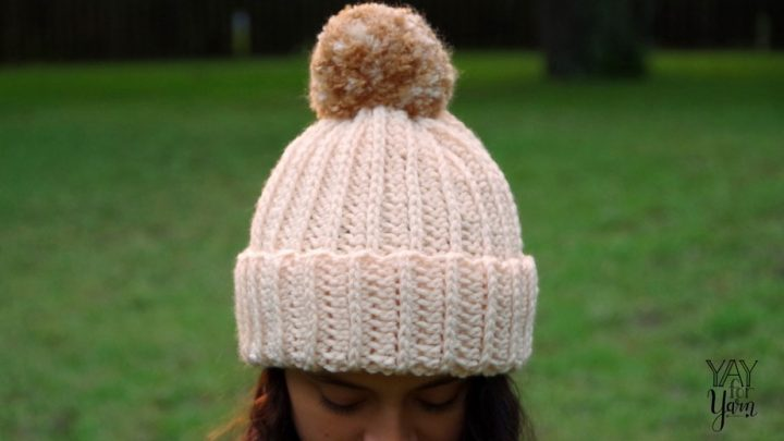 Quick & Easy Knit-Look Crochet Hat with Pom Pom- FREE Crochet Pattern in sizes Preemie to Adult | Yay For Yarn