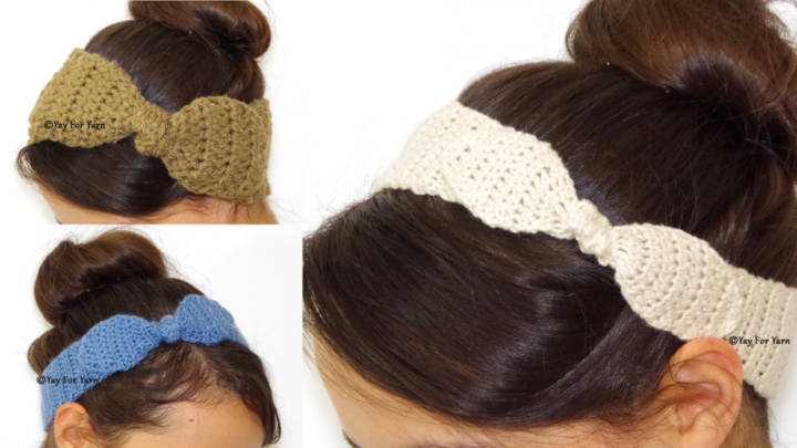 Knotted Bow Headband - FREE Crochet Pattern with Video Tutorial by Yay For Yarn