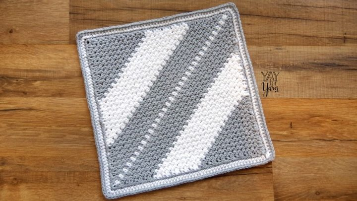 This simple dishcloth is worked from corner to corner, with any stripe pattern you like, or no stripes at all!